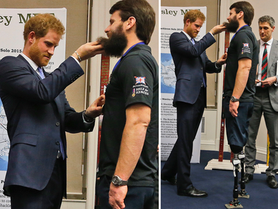 Prince Harry's Hairy Encounter with British Hero (PHOTO)