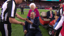 President George H.W. Bush & Barbara All Smiles at Super Bowl LI After Hospital Stint