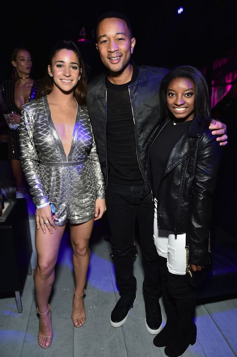 Olympic gymnast Aly Raisman, recording artist John Legend and Olympic gymnast Simone Biles attend the 2017 DIRECTV NOW Super Saturday