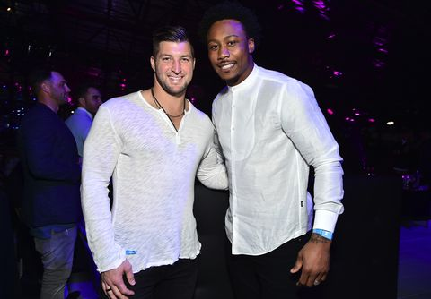 Tim Tebow and Brandon Marshall attend the 2017 DIRECTV NOW Super Saturday Night Concert
