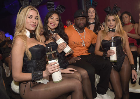 50 Cent Jackson celebrates with EFFEN Vodka at the Playboy party with TAO at Spire Nightclub