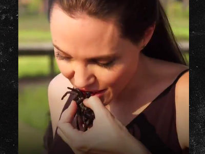 Angelina Jolie Buggin' Out ... Cooking & Eating Spiders! (VIDEO)