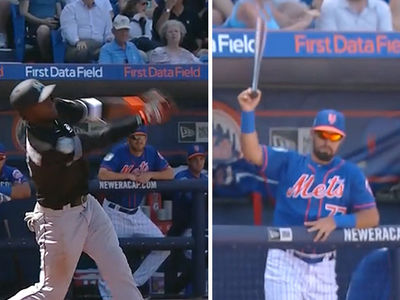 NY Mets Player CATCHES FLYING BAT ... With His Bare Hand (INSANE VIDEO)