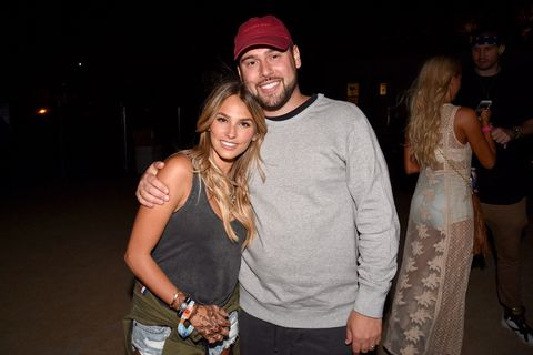 Yael Cohen (L) and Scooter Braun pose backstage during day 1 of the Coachella Valley Music And Arts Festival (Weekend 1) at the Empire Polo Club on April 14, 2017 in Indio, California.