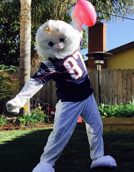 Gronk dressed up as the Easter Bunny but kept his jersey on to represent.