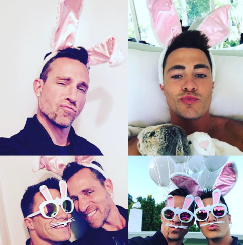 Colton Haynes and new fiance Jeff Leatham fooling around this Easter