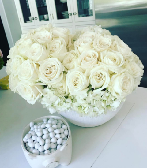 Kris Jenner showed off the white Easter roses Khloe gifted her.