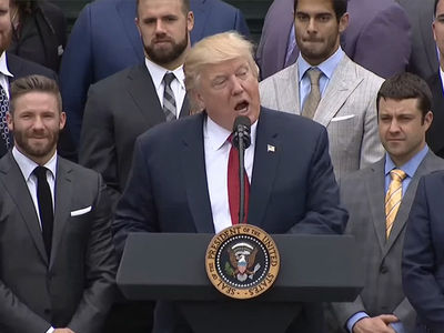 Donald Trump Doesn't Mention Tom Brady's Name at Patriots' White House Visit (VIDEO)