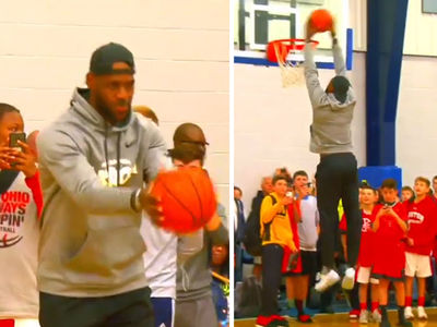 LeBron James Throws Down 2-Handed Slam At Sons' Basketball Tourney (VIDEO)