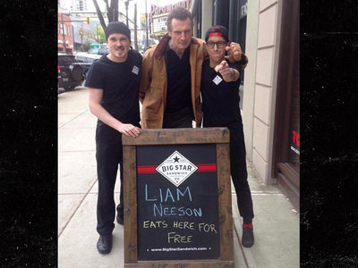 Liam Neeson Shows Up at Canadian Sandwich Shop Offering Him Free Food (PHOTOS)