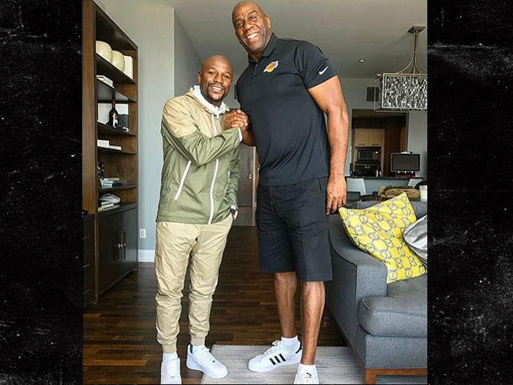 Floyd for Johnson, Mayweather with Meets  NBA Magic Gunning