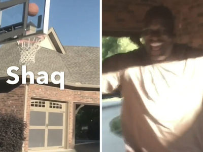 Shaq Hits Trick Basketball Shot Over His Own House!