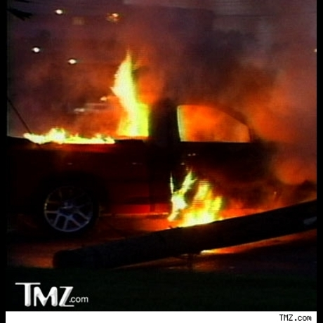 The fiery consequence of Tyson Beckford's crash.
