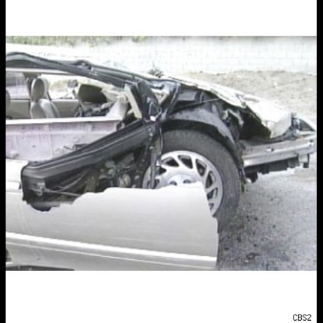 """The """"Sixth Sense"""" star's Saturn after his frightening rollover in Los Angeles."""
