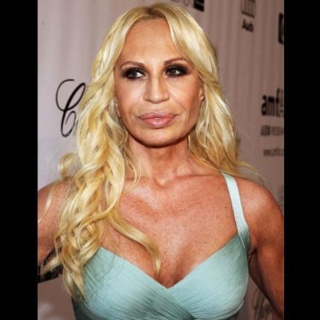 Who designed Donatella Versace's lips?