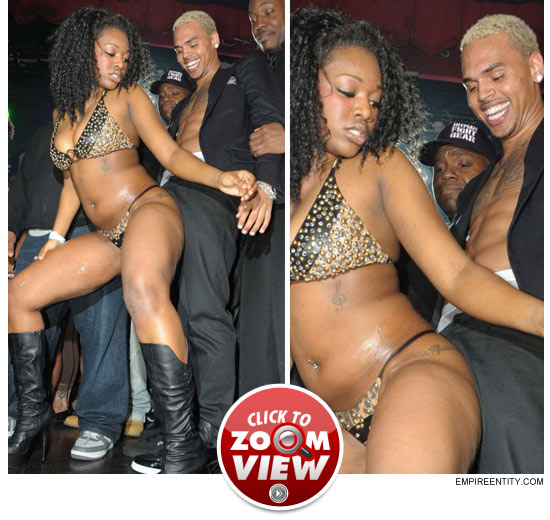 A Still Shirtless Chris Brown Unwound By Bumping And Grinding On Some Skankily Clad Chicks Booty At His Record Release Party At Webster Hall In Nyc