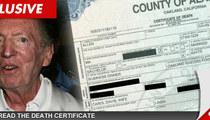 Al Davis Death Certificate -- Died from Bum Ticker