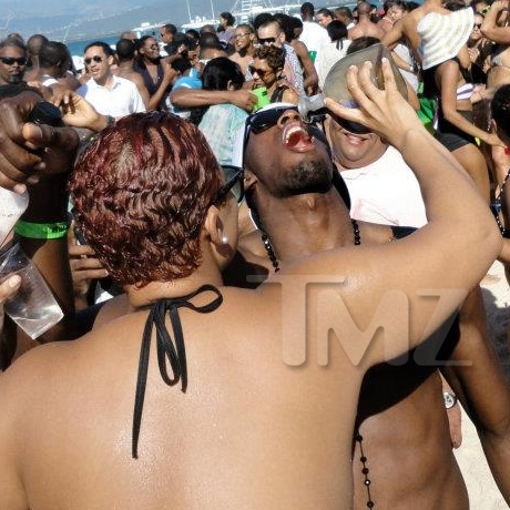 Usain Bolt Party Beach Drinking Photos