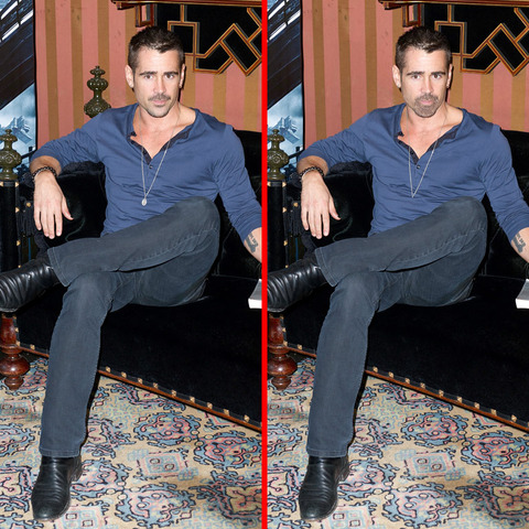 Can you spot the THREE differences in the Colin Farrell picture?