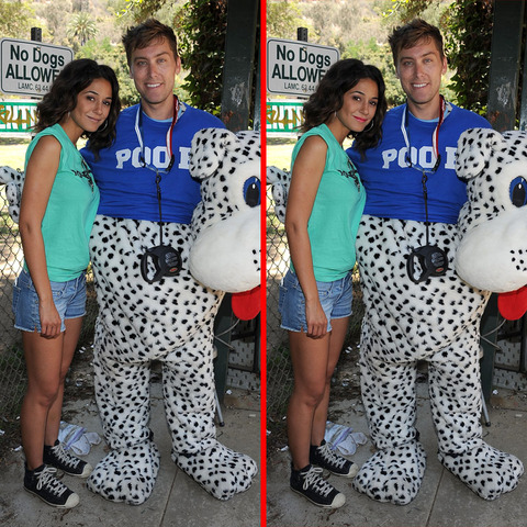 Can you spot the THREE differences in the Emmanuelle Chriqui and Lance Bass picture?