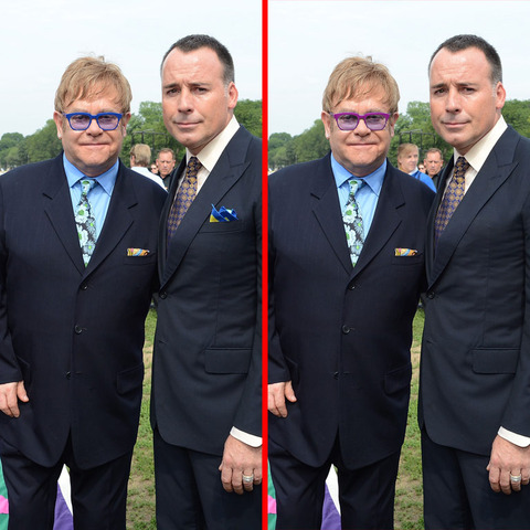 Can you spot the THREE differences in the Elton John and David Furnish picture?