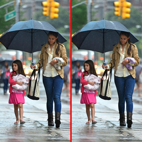 Can you spot the THREE differences in the Katie Holmes and Suri picture?