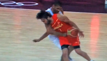 Olympic Scrotum Punching -- French Basketball Player Goes NUTS on Spain