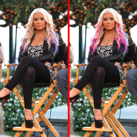 Can you spot the THREE differences in the Christina Aguilera picture?