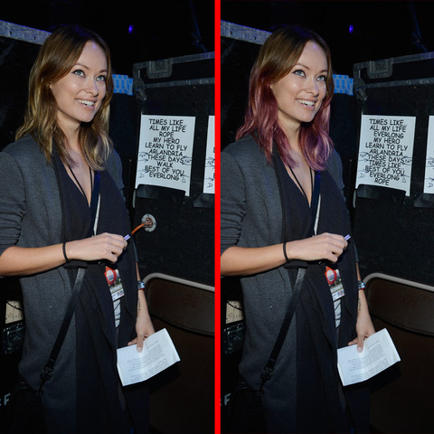 Can you spot the THREE differences in the Olivia Wilde picture?