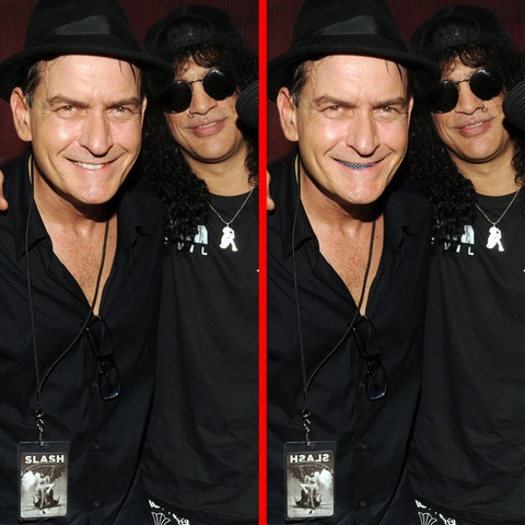 Can you spot the THREE differences in the Charlie Sheen and Slash picture?