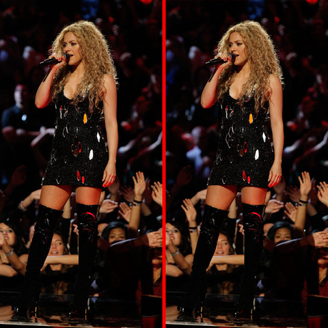 Can you spot the THREE differences in the Shakira picture?