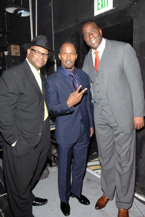 Jimmy Jam, Jamie Foxx and Earvin Johnson