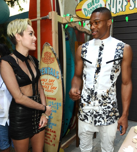 Miley Cyrus and Russell Westbrook