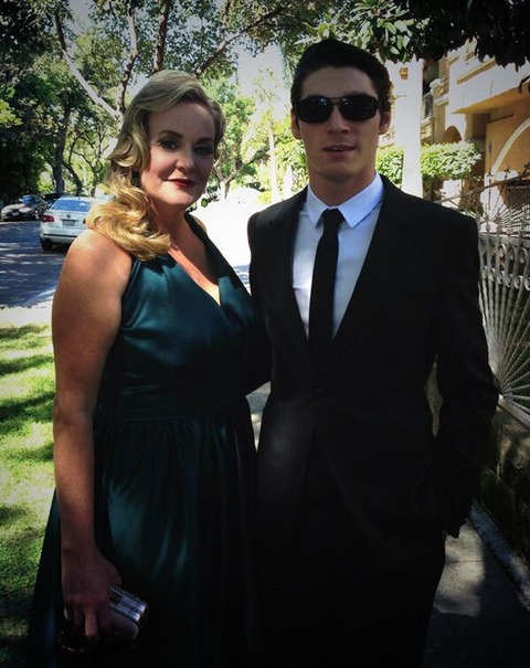 RJ Mitte and his mother
