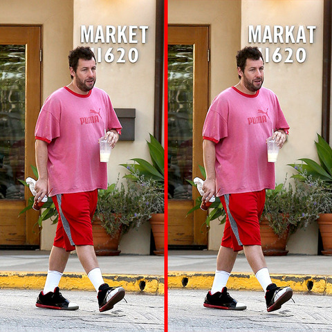 Can you spot the THREE differences in the Adam Sandler picture?