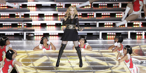 2012 -- Madonna took the stage and included collaborations with Cee Lo Green, LMFAO and Nicki Minaj.