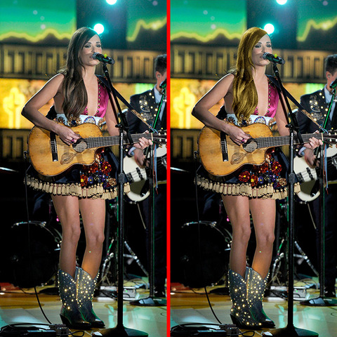 Can you spot the THREE differences in the Kacey Musgraves picture?