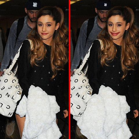 Can you spot the THREE differences in the Ariana Grande picture?