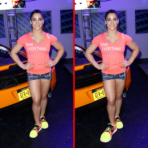 Can you spot the THREE differences in the Aly Raisman picture?