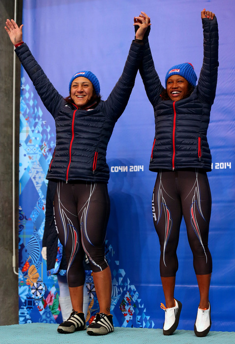 Silver medalists Elana Meyers and Lauryn Williams -- Bobsled Women's