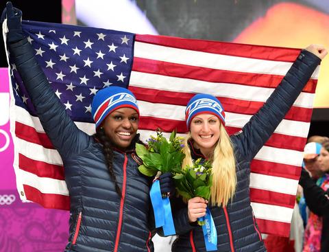 Bronze medalists Aja Evans and Jamie Greubel -- Bobsled Women's