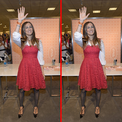 Can you spot the THREE differences in the Sarah Jessica Parker picture?