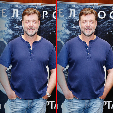Can you spot the THREE differences in the Russell Crowe picture?