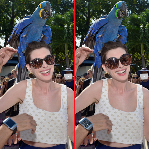 Can you spot the THREE differences in the Anne Hathaway picture?