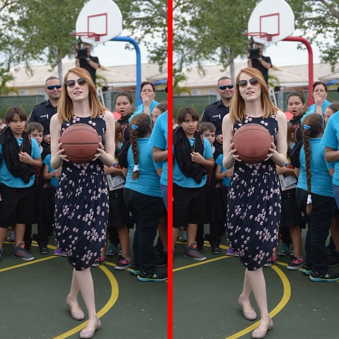 Can you spot the THREE differences in the Emma Stone picture?