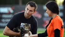 Hero Cat Throws Out First Pitch ... With Help from Rescue Boy!