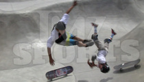 10-Year-Old Skate Phenom Asher Bradshaw -- BASHES HEAD IN SKATE COLLISION ... Continues to Ride