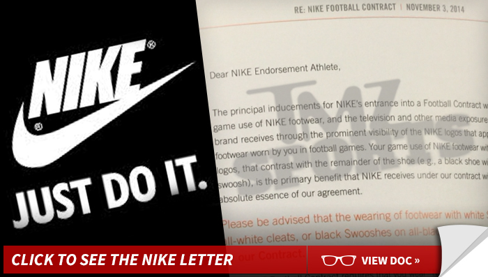 Nike to NFL Stars -- STOP CUSTOMIZING CLEATS ... Or We ll Kill Your Endorsement  Deal 657c4b4a0