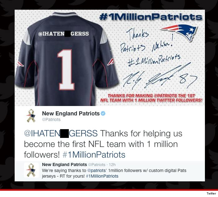 bf479c32652 The New England Patriots have issued an apology for one of the biggest  Twitter backfires EVER -- when the team celebrated it's 1 millionth  follower ... by ...