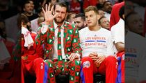 Clippers Spencer Hawes -- Rocks Amazing Hideous Xmas Suit ... Tribute to Craig Sager